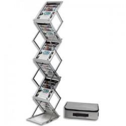 DEFLECTO Présentoir sur pied pliable aluminium avec malette de transport 6 niveaux pour A4