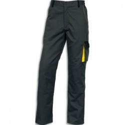 DELTA PLUS Pantalon D-Match 65% polyester 35% coton 6 poches fermeture zip gris jaune Taille M