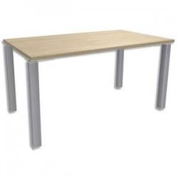 SIMMOB Bureau droit 4 pieds EXPRIM - Dimensions : L140 x H72,5 x P80 cm Chêne clair aluminium