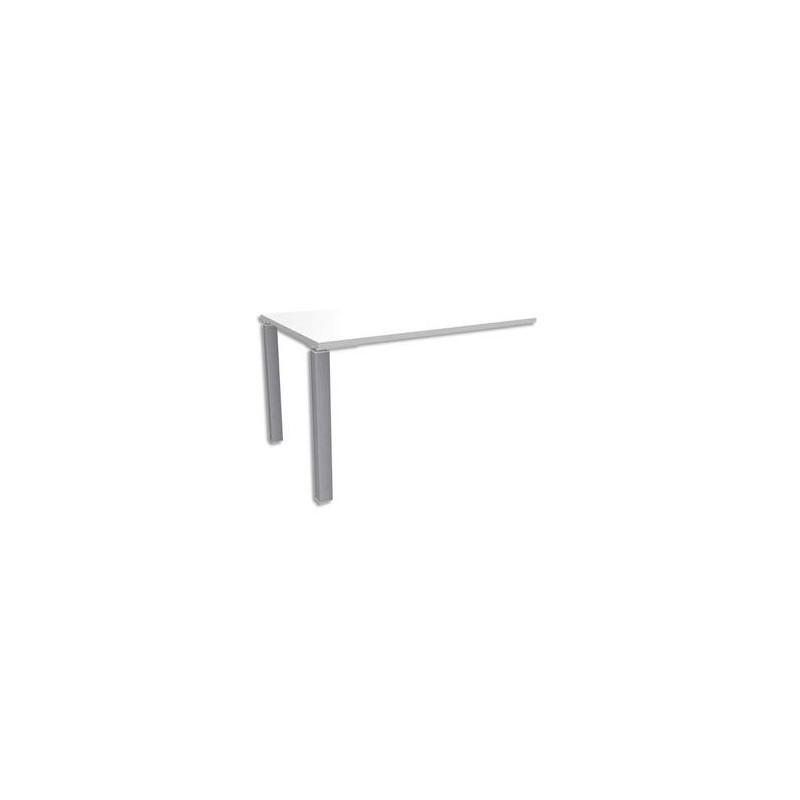 SIMMOB Bureau droit 2 pieds EXPRIM - Dimensions : L120 x H72,5 x P80 cm coloris Blanc perle aluminium