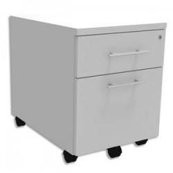 SIMMOB Caisson mobile 2 tiroirs dont 1 DS + plumier EXPRIM - Dimensions : L43 x H56 x P60 cm Blanc perle