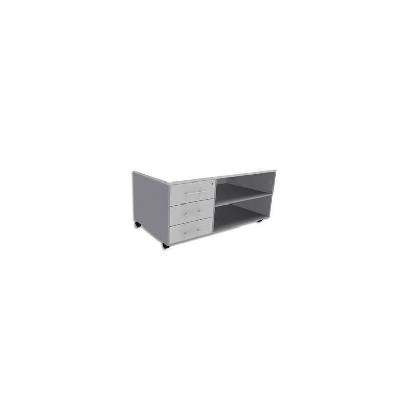 SIMMOB Console mobile + caisson 3 tiroirs + plumier EXPRIM - L120 x H63 x P60 cm Blanc perle aluminium