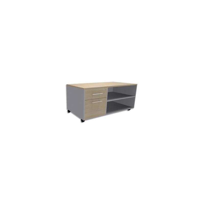 SIMMOB Console mobile + caisson 2 tiroirs dont 1 DS + plumier EXPRIM L120 x H63 x P60 cm Chêne clair alu
