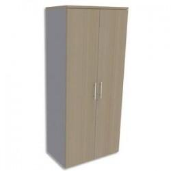 SIMMOB Armoire Haute aluminium 4 tablettes avec porte, top Chêne clair EXPRIM - Dim : L80 x H180 x P47 cm