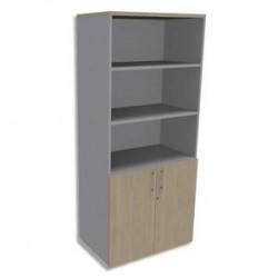 SIMMOB Bibliothèque Haute aluminium porte basse, top Chêne clair EXPRIM - Dim. L80 x H180 x P47 cm