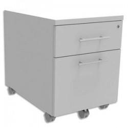 SIMMOB Caisson mobile 2 tiroirs + plumier, façade Blanc perle INEO - Dimensions : L42 x H56 x P50 cm