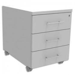 SIMMOB Caisson mobile 3 tiroirs + plumier, façade Blanc perle INEO - Dimensions : L42 x H56 x P50 cm