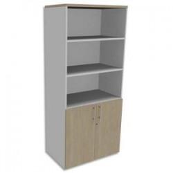 SIMMOB Bibliothèque Haute Blanc perle porte basse, top Chêne clair INEO - Dim : L80 x H180 x P47 cm