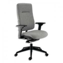 Siège Ergos dossier et assise en tissu gris cendre, à mécanisme synchrone, piètement noir