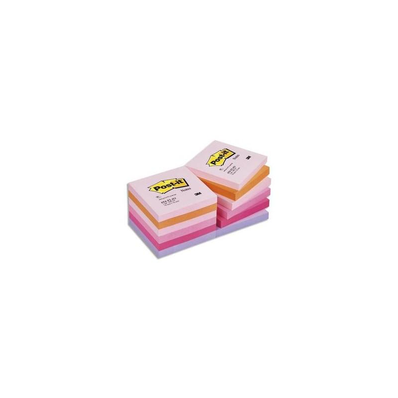 POST-IT Lot de 12 blocs repositionnables coloris PLAISIR dimensions 76x76mm