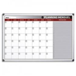 BI-OFFICE Planning Bi-Office mensuel perpétuel magnétique - Dim. L90 x H60 cm blanc/gris