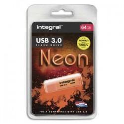INTEGRAL Clé USB 3.0 Neon 64Go Orange INFD64GoNEONOR3.0+ redevance