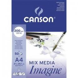CANSON Bloc de 50 feuilles de papier dessin IMAGINE 200g A4 blanc