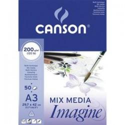 CANSON Bloc de 50 feuilles de papier dessin IMAGINE 200g A3 blanc