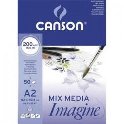 CANSON Bloc de 50 feuilles de papier dessin IMAGINE 200g A2 blanc