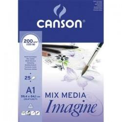 CANSON Bloc de 25 feuilles de papier dessin IMAGINE 200g A1 blanc