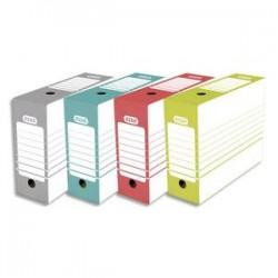ELBA Boîte archives dos 10 cm en carton. Montage automatique. Coloris assortis