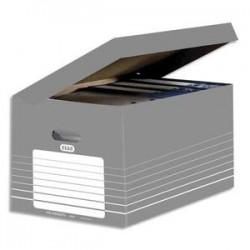 ELBA Conteneur en carton ouverture sur le dessus, couvercle attenant. Montage automatique. Coloris gris.