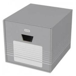 ELBA Tiroir de rangement en carton superposable. Montage automatique. Coloris gris.