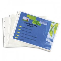 EXACOMPTA Lot de 20 pochettes EXACTIVE en polypropylène. Format A4 portrait (perforations grand côté)