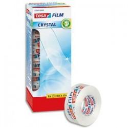 TESA adhesif transparence Crystal X8. Grande résistance au déchirement. Sans solvant. 33Mx19mm.