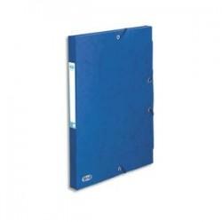 ELBA Boîte de classement BOSTON à élastiques en carte lustrée 7/10e, 600g. Dos 2,5 cm. Coloris bleu