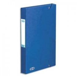 ELBA Boîte de classement BOSTON à élastiques en carte lustrée 7/10e, 600g. Dos 3,5 cm. Coloris bleu