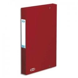 ELBA Boîte de classement BOSTON à élastiques en carte lustrée 7/10e, 600g. Dos 3,5 cm. Coloris rouge
