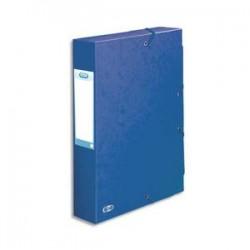 ELBA Boîte de classement BOSTON à élastiques en carte lustrée 7/10e, 600g. Dos 6 cm. Coloris bleu