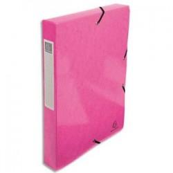 EXACOMPTA Boîte de classement IDERAMA en carte pelliculée 7/10e, 600g. Dos 4 cm. Coloris rose