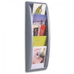 PAPERFLOW Présentoir mural Quick Fit System, 5 cases format A5 épaisseur 2 cm, L22,7 x H65 x P9,5 cm alu