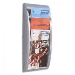 PAPERFLOW Présentoir mural Quick Fit System, 4 cases format A4 épaisseur 2 cm, L29 x H65 x P9,5 cm alu