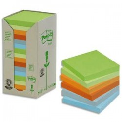 POST-IT Tour 16 blocs 100f 76x76mm 100% recyclé. Coloris assortis gris,bleu,vert clair,vert mousse