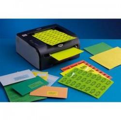 Boîte de 2100 Etiquettes adhésives couleur Rouge - Format : 63,5 x 38,1 mm. Planche A4