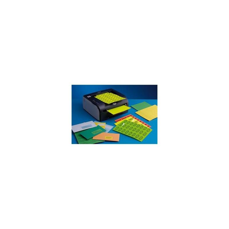 Boîte de 2100 Etiquettes adhésives couleur Bleu - Format : 63,5 x 38,1 mm. Planche A4