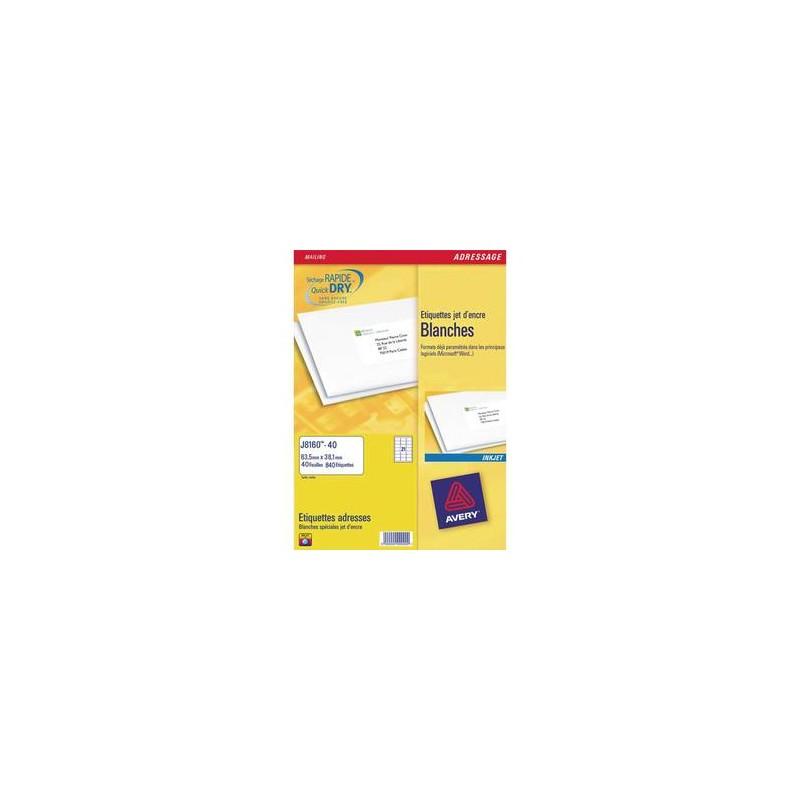 AVERY Boîte de 525 étiquettes adresses jet d encre 63,5x38,1 blanches J8160-25