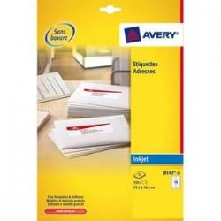 AVERY Boîte de 350 étiquettes adresses jet d encre 99,1x38,1mm blanches J8163-25