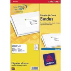 AVERY Boîte de 100 étiquettes adresses jet d encre 99,1x139 mm blanches J8169-25