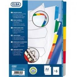 ELBA Intercalaire en carte blanche 170g, 6 touches renforcées mylar, format A4