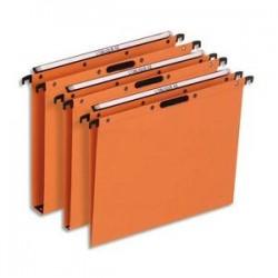 OBLIQUE AZ Boîte de 25 dossiers suspendus TIROIR en kraft 240g. Fond 15, Velcro. Orange