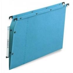 OBLIQUE AZ Boîte de 25 dossiers suspendus ARMOIRE en kraft 240g. Fond V, bouton-pression. Bleu