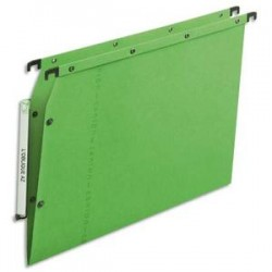 OBLIQUE AZ Boîte de 25 dossiers suspendus ARMOIRE en kraft 240g. Fond V, bouton-pression. Vert
