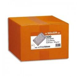 NEUTRE Boîte de 500 pochettes kraft brun 90g C5 162x229 mm autocollantes