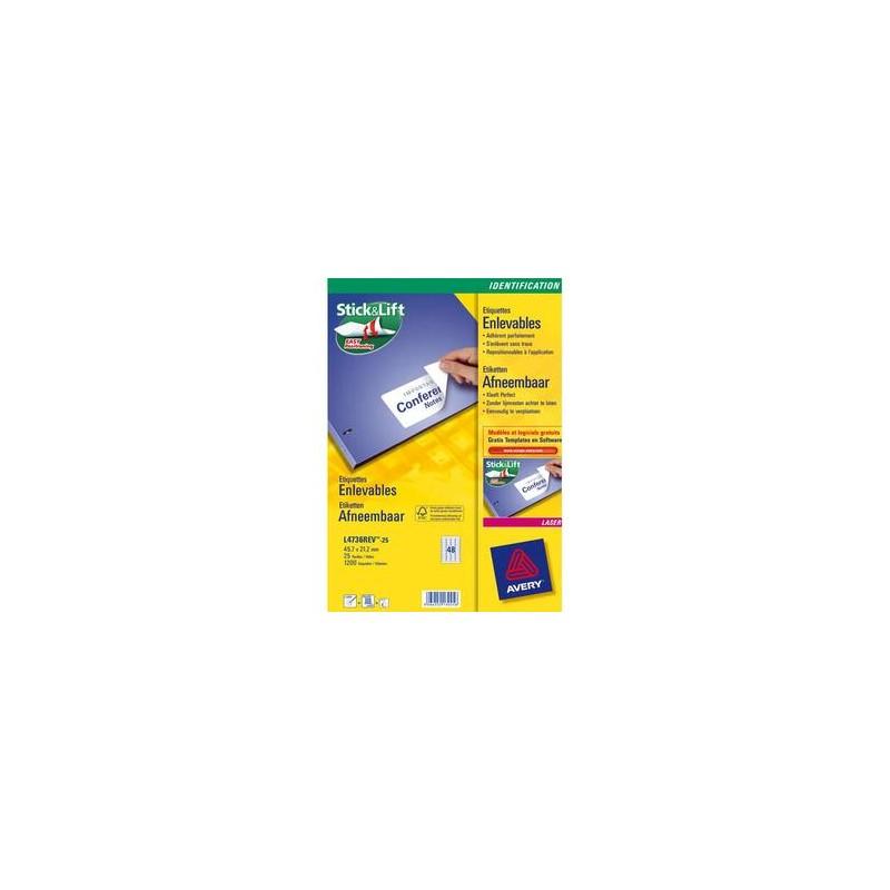 AVERY Boite de 200 Etiquettes laser enlevable 96x163.5 mm (boite de 25) L4745REV-25