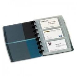 ELBA Porte-cartes de visite Proline noir/bleu translucide amovible. 90 cartes en PP rigide L16 x H21 cm