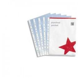 5 ETOILES Boîte de 100 pochettes perforées en polypropylène 8/100e grainé, perforation 11 trous