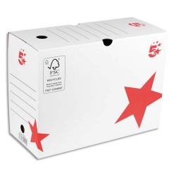 5 ETOILES Boîte archives dos 20 cm. Montage manuel. Carton blanc.