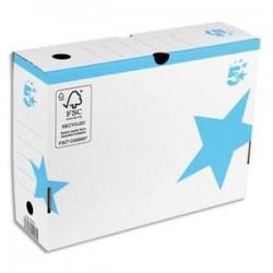 5 ETOILES Boîte archives dos 10 cm. Montage manuel. Carton blanc, imprimé bleu.
