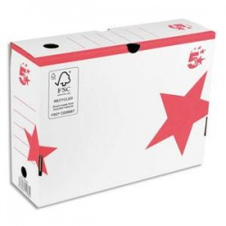 5 ETOILES Boîte archives dos 10 cm. Montage manuel. Carton blanc, imprimé rouge.