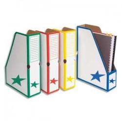 5 ETOILES Porte-revues en carton ondulé dos de 8 cm, kraft blanc imprimé bleu